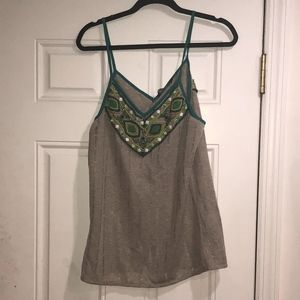 KAS NWT spring/summer top gray w green and beading